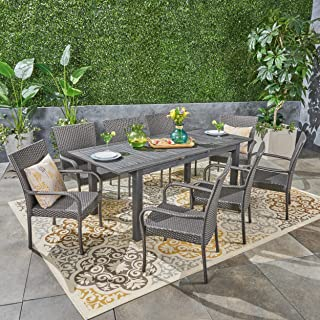 Great Deal Furniture Ellis Outdoor 9 Piece Wood and Wicker Expandable Dining Set, Dark Gray and Gray