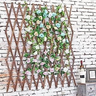 MyGift Wood Lattice Garden Trellis, Plant Display Screen w/Adjustable Width, Dark Brown