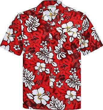 Camisa Hawaiana | Hombre | Manga Corta | 100% Algodón | S - 8XL | Clasico | Flores | Rojo | Hawaiiana | Hawaii | Barata