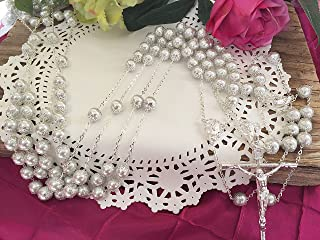 White Pearls Silver Plated Crystal Wedding Lasso/Crystal Wedding Rosary/Lazo De Boda De Crystal