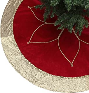Valery Madelyn 48 inch Luxury Red Gold Christmas Tree Skirt Decorations with Flower Design, Themed with Christmas Tree Dec...