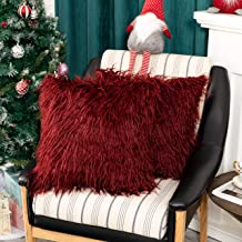 Kevin Textile Pack of 2, Christmas Decor Home Deluxe Soft Plush Merino Style Red Faux Fur Fuzzy Throw Pillow Cover Cushion...