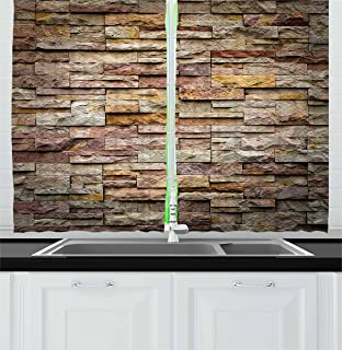 Ambesonne Marble Kitchen Curtains, Urban Brick Slate Stone Wall with Rocks Featured Facade Architecture Town Picture, Window Drapes 2 Panel Set for Kitchen Cafe Decor, 55
