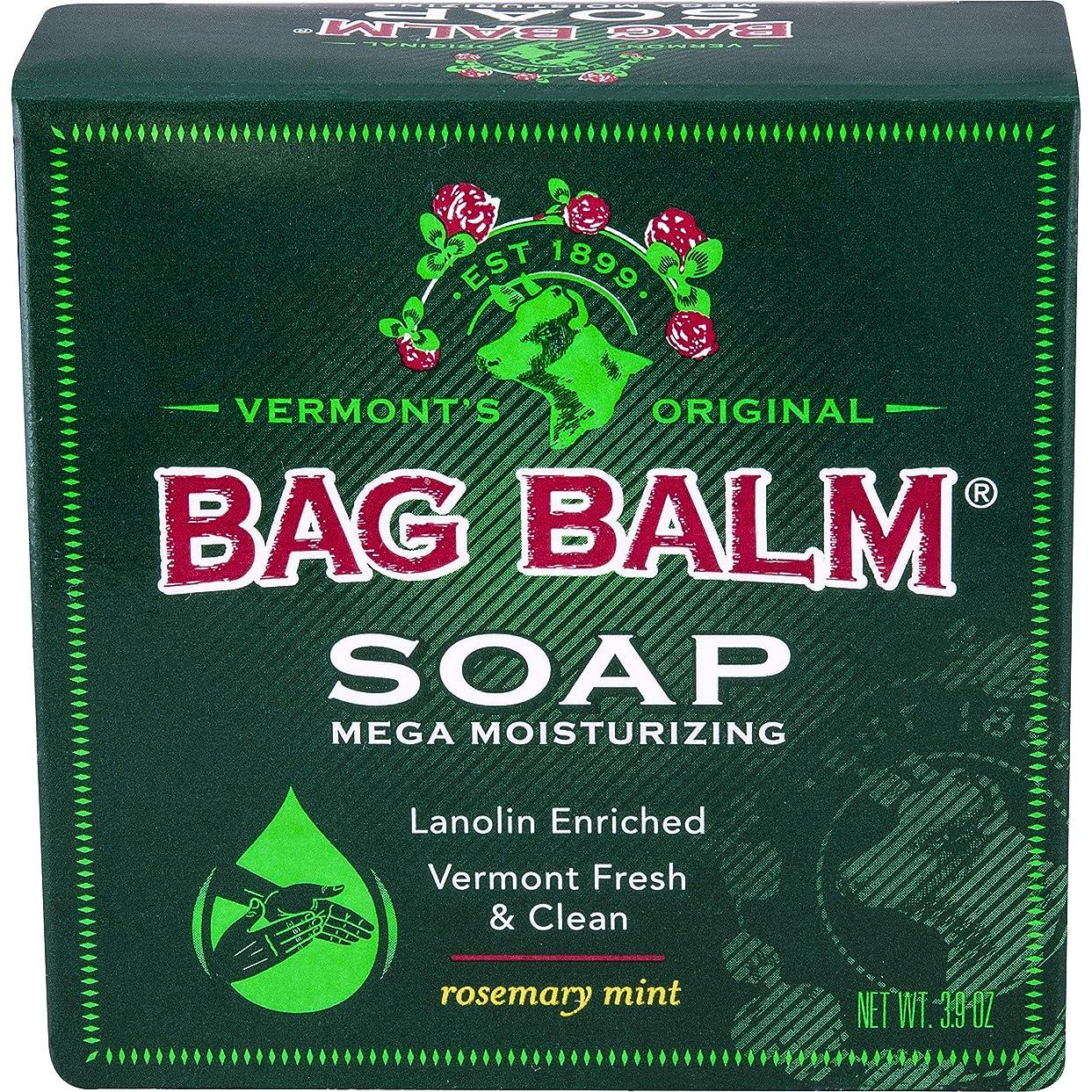 調子打倒倫理Bag Balm メガモイスチャーソープローズマリーミント3.9オンスバー(3バリューパック)