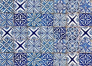 Home Decor Line CR-67215 Blue Azulejos Kitchen Panel Decal, Black