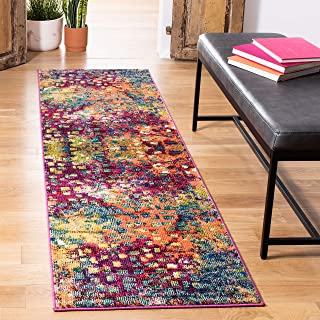 Tapis tapis de passage d'intérieur bohème chic tissé , collection Monaco, MNC225, en rose / multi, 66 X 244 cm pour le sal...