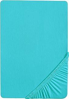 Biberna 77144 Drap housse en jersey stretch, selon Oeko-Tex Standard 100, env. 90 x 190 cm à 100 x 200 cm, Bleu (türkis)