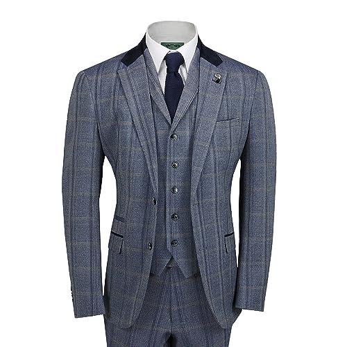 630462f44a6 Cavani Mens Tweed Check 3 Piece Suit in Brown Blue Retro Vintage  Herringbone Smart Tailored Fit