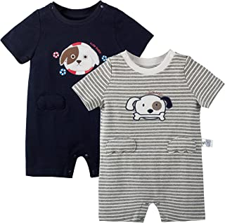 COTTON FAIRY Baby Boys 2-Pack Short Sleeve Rompers Cute Puppy Pattern Jumpsuits Bodysuits Sets