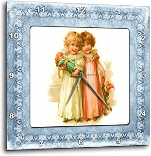 3dRose DPP_183018_1 Victorian Girls and Their Dolls Wall Clock, 10 by 10-Inch
