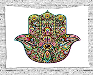 Ambesonne Hamsa Decor Collection, Psychedelic Pattern in Hamsa Hand of Fatima Spiral and Rotary Effects Boho Ethnic Artsy Print, Bedroom Living Room Dorm Wall Hanging Tapestry, 60 X 40 Inches, Multi