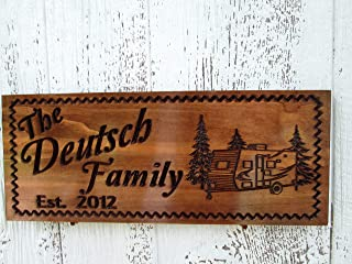 Custom Camping Sign with Pull behind Camper, Family Campsite Sign, C104