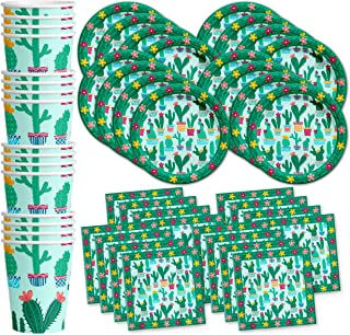 Cactus Birthday Party Supplies Set Plates Napkins Cups Tableware Kit for 16