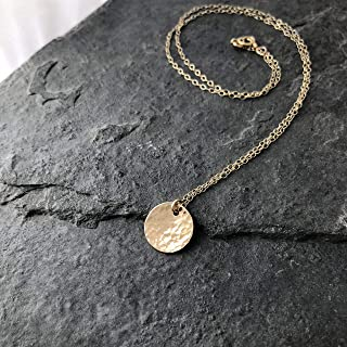 Disc Necklace Hammered Yellow Gold Filled 20 inch chain length