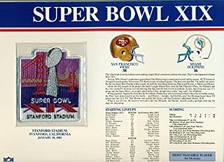 Super Bowl XIX 19 Official Patch San Francisco 49ers vs Miami Dolphins at Stanford Stadium