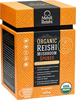 Organic Reishi Mushroom Spore Powder by Mehdi Reishi – 30 Servings, 1,000mg –100% Pure, Authentic, Organic Spores –Ganoderma Lucidum, Lingzhi Mushroom – 4%+ Triterpenes Potency