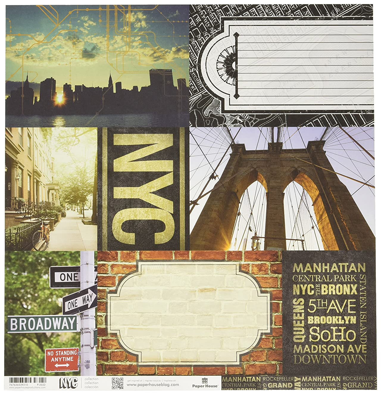 Paper House Productions P-2032E Double Sided New York City-Tags Paper (15 Pack), 12