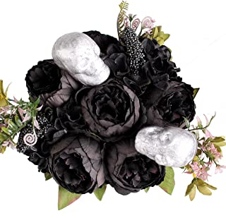 Blooming Paradise Artificial Fake Flowers Plants Silk Peony Flower Arrangements Halloween Bouquets Decorations Plastic Floral Table Centerpieces Home Kitchen Party Décor Festival Bar DIY ((Black)