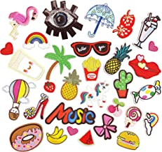 30 PCS Iron on Patches Assorted Size Iron on sew on Embroidery Applique Decoration DIY Embroidered Patches, for Hats, Jackets, Shirts, Vests and Jeans Design, Assorted Design