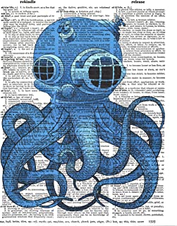 Benchmark LLC Vintage Nautical Themed Dictionary Print Wall Art Print 8x10 - Electric Blue Octopus
