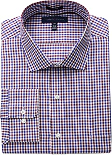 2d032fb7 Tommy Hilfiger Men's Big and Tall Non Iron Tall Fit Check Spread Collar Dress  Shirt