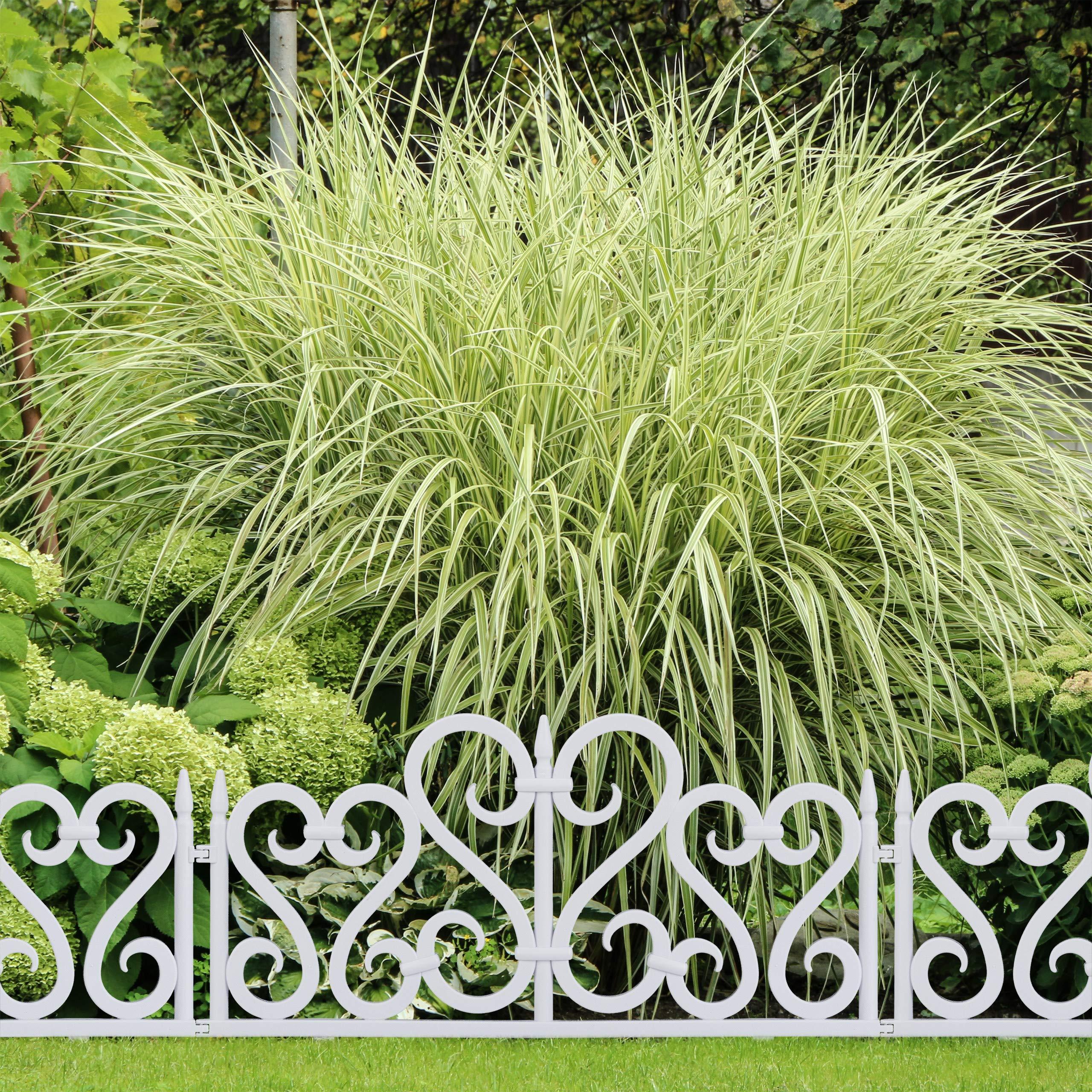 Relaxdays Set de 8 separadores de jardín, Valla Decorativa, con Ornamentos, Altura de 28 cm, Blanco: Amazon.es: Jardín