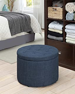 Convenience Concepts 161546FBE Designs4Comfort Round Shoe Ottoman, Blue Fabric