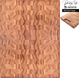 Daddy Chef End Grain Wood cutting board for kitchen - Wood Chopping block - Large cutting board 16 x 12 Kitchen butcher block - non slip cutting board with feet