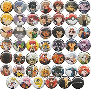 Huge Wholesale Lot of 48 90's Anime 1 Inch Pins/Buttons/Badges