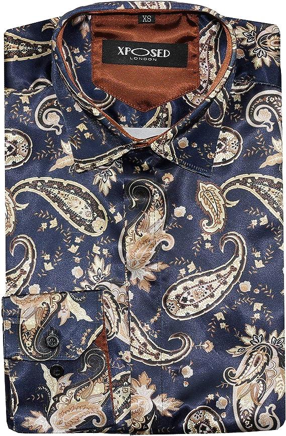 Camisa de fiesta con estampado de cachemira floral para hombre, estilo italiano