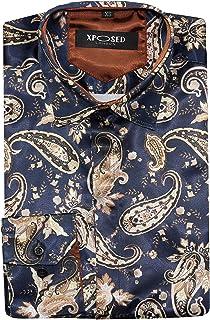Da Uomo Design Italiano marrone seta satinato Camicia Smart Slim Fit