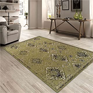 Superior Mayfair Collection Area Rug, 8mm Pile Height with Jute Backing, Vintage Distressed Medallion Pattern, Fashionable and Affordable Woven Rugs - 8' x 10' Rug, Green