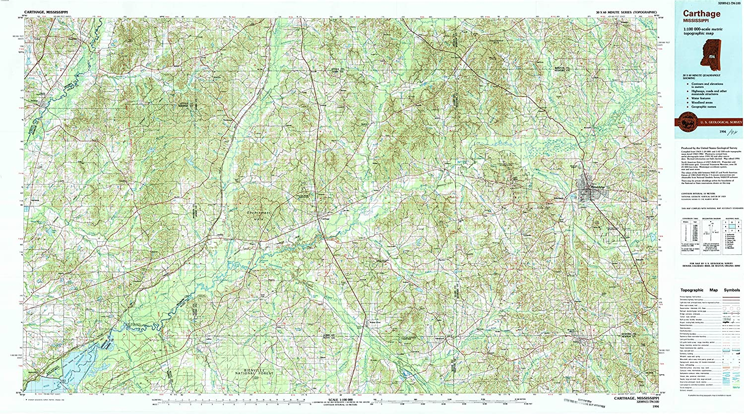 YellowMaps Carthage MS Max 47% OFF Max 41% OFF topo map 1:100000 Minute Scale X 30 60