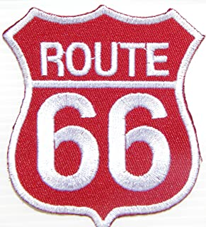 ROUTE 66 Shield Logo Lady Biker Rider Hippie Punk Rock Tatoo Jacket T-shirt Patch Sew Iron on Embroidered Sign Badge Costume