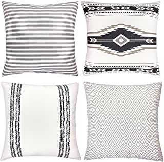 Home Textiles TOMWISH 2 Packs Hidden Zippered Pillowcase Black White Tribal Pattern Doodle Elements Fancy Abstract 18X18Inch,Decorative Throw Custom Cotton Pillow Case Cushion Cover for Home Bedding & Linen