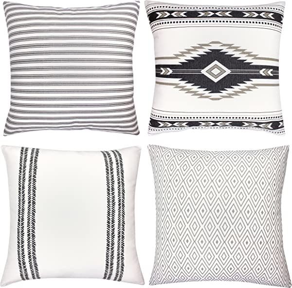 Woven Nook Decorative Throw Pillow Covers ONLY For Couch Sofa Or Bed Set Of 4 18 X 18 Inch Modern Quality Design 100 Cotton Stripes Geometric Sahara