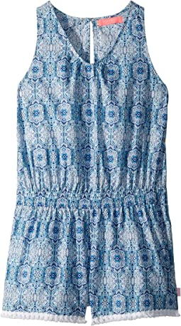 Boho Tile Fringing Jumpsuit Cover-Up (Big Kids)