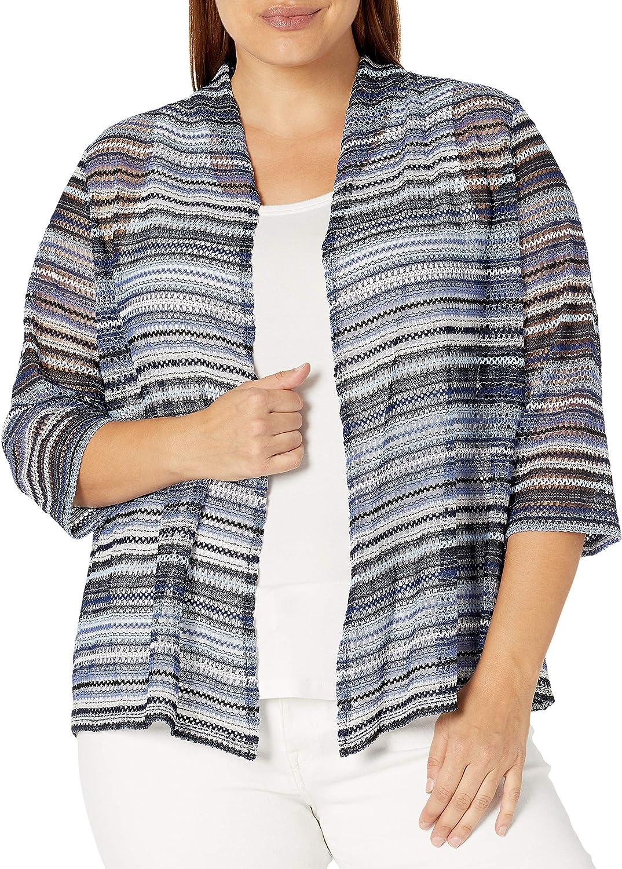 Kasper Women's Crochet Stripe Knit 3/4 Sleeve Cardigan