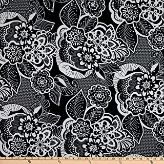 Fabric Merchants Double Brushed Poly Jersey Knit Allover Floral Black/Ivory Fabric