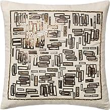 "Loloi Loloi-DSETP0196WHGOPIL1-White Decorative Accent Pillow 100% Cotton Cover with Down Fill 18"" x 18"", 18"" x 18"", White/..."