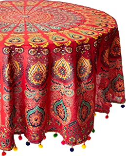 NANDNANDINI-Beautiful Multi Colour Beach Sheet Throw Roud Tapestry Indian Mandala Round Roundie Beach Throw Tapestry Hippy Boho Gypsy Cotton Tablecloth Beach Towel with Colour FUL POM POM Border