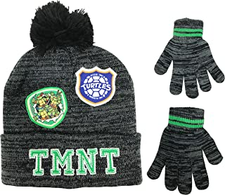 Nickelodeon TMNT Boys Beanie Winter Hat and Gloves Cold Weather Set, Age 4-7