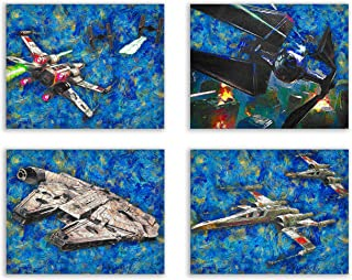 Star Wars Starry Night New Art Prints - Millennium Falcon, Imperial TIE Fighter, Rebel X-Wing Starfighter Battle - Classic Legacy Starship Vehicles Deluxe Poster Collection - Set of 4 11x14 Photos