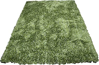 Light Green Dark Green Two-Tone Colors 5'x7' Feet Shag Shaggy Solid Area Rug Carpet Rug Modern Contemporary Decorative Designer Bedroom Living Room Plush Pile Polyester Made Hand Woven Canvas Backing