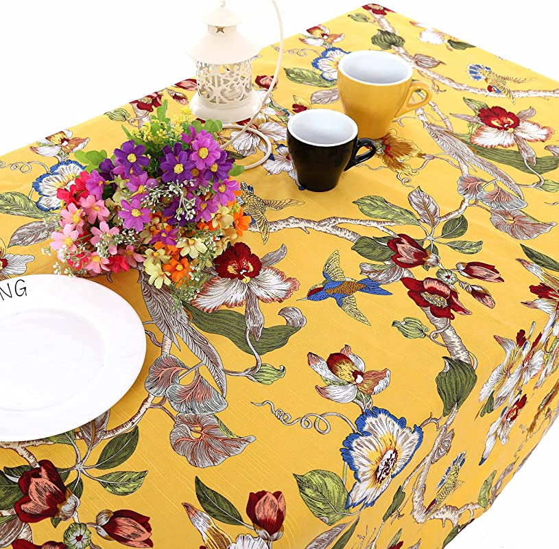 UniTendo Pastoral Countryside Style Linen Cotton Table Cloths Table Cloth With Delicate Blooming Floral And Lively Birds Design Yellow 55 X86