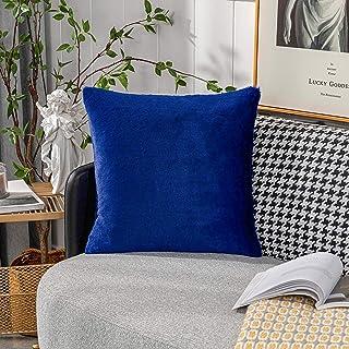Home Brilliant Plush Faux Fur Pillow Cover for Fall Winter Decoration Decorative Pillowasce for Living Room, 18 x 18, Blue