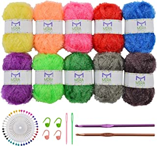 Mira Handcrafts 10 Crafts Yarn Skeins for Crochet and Knitting Dish Scrubber – Making Scrubbing Washcloths – 12 Projects E...