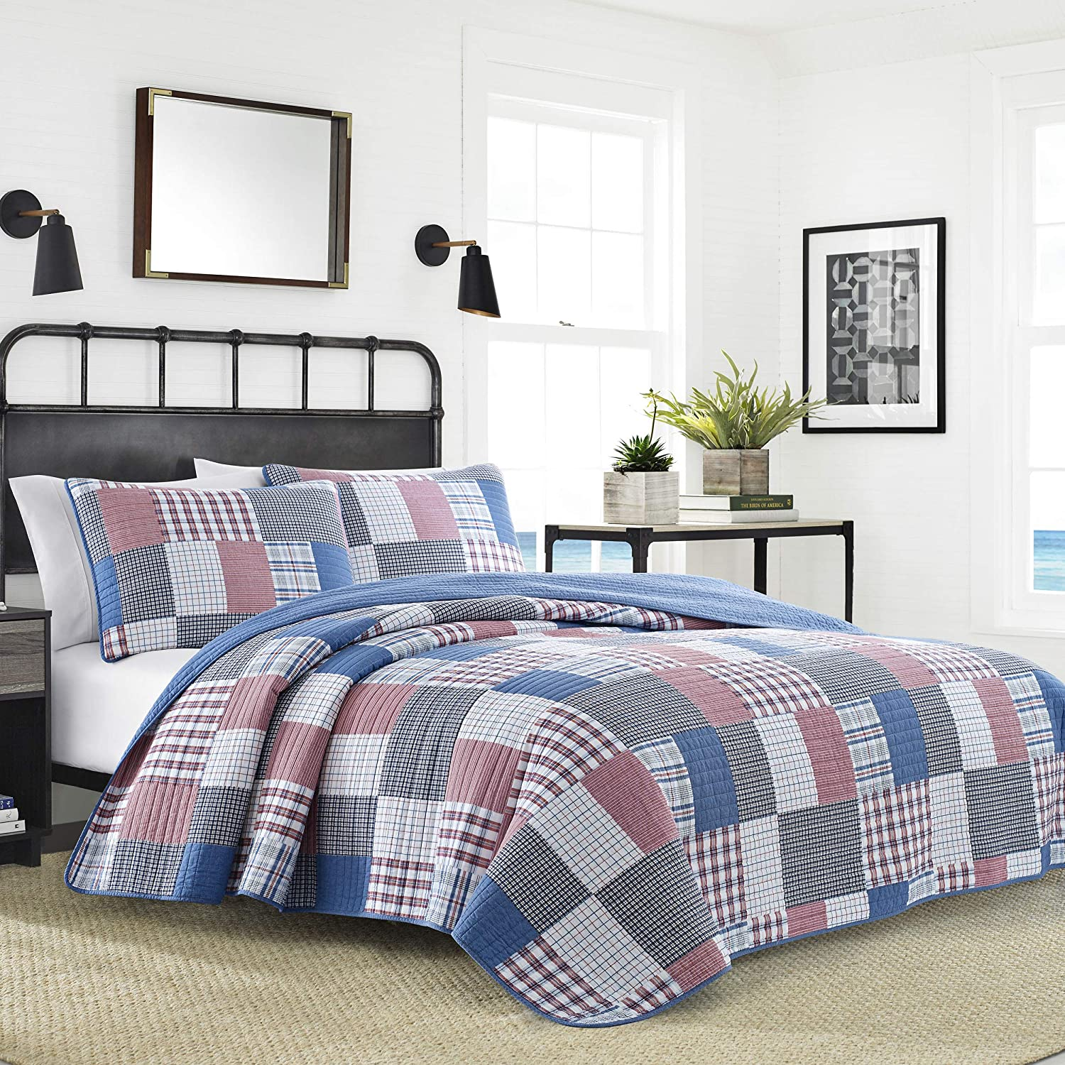 Nautica Seaside Patchwork Quilt Set Full Queen bluee