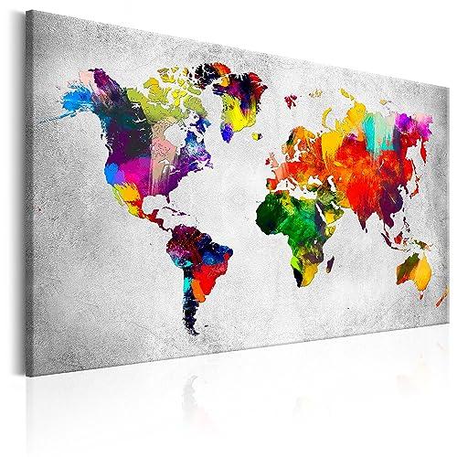 murando - Weltkarte Pinnwand & Vlies Leinwandbild 120x80 cm - 1 Teilig - Kunstdruck modern Wandbilder XXL Wanddekoration Design Wand Bild - Kontinent Landkarte Karte Reise bunt k-A-0120-v-a