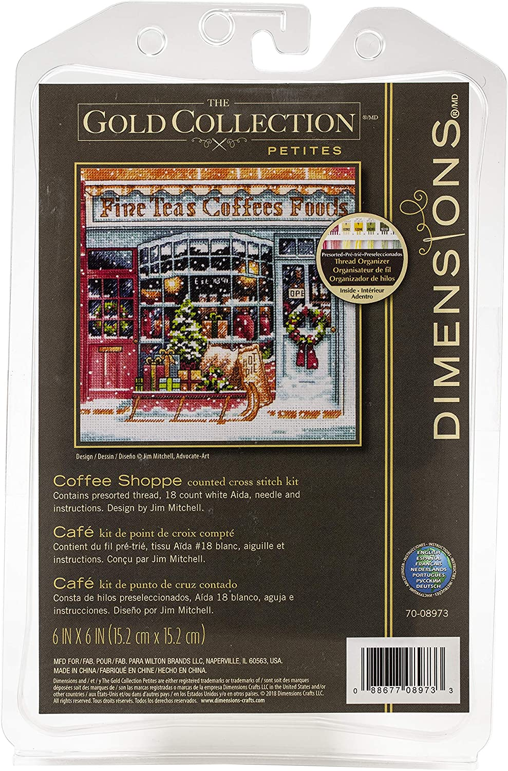 Dimensions Gold Collection Small Counted Cross Stitch Kit, 'Coffee Shoppe', 18 Count White Aida Cloth, 6'' x 6''